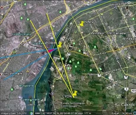 Triângulo avermelhado identificado no estudo da Universidade de Ontario Ocidental mostra a origem mais provável do ruído, na ilha Zug | Imagem: Agencia Geológica de Canadá