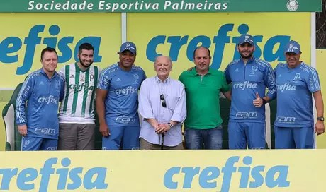 Rubens Minelli foi à Academia de Futebol assistir ao treino do Palmeiras (Foto: Cesar Greco)