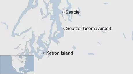 O avião foi roubado do aeroporto de Seattle-Tacoma e caiu na Ketron Island