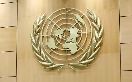 Emblema da ONU na sede de Genebra, na Suíça