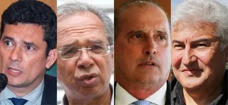 Alguns dos principais ministros do governo Bolsonaro: Sérgio Moro (Justiça e Segurança Pública); Paulo Guedes (Economia), Onyx Lorenzoni (Casa Civil) e Marcos Pontes (Ciência, Tecnologia, Inovações e Comunicações)