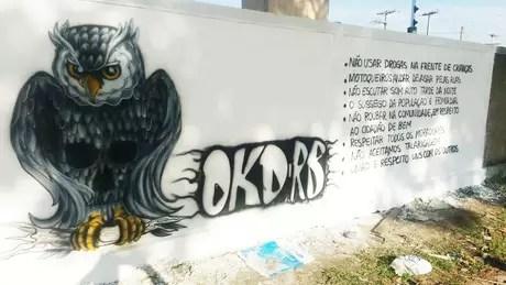 A Okaida listou seu código de conduta em um muro de João Pessoa