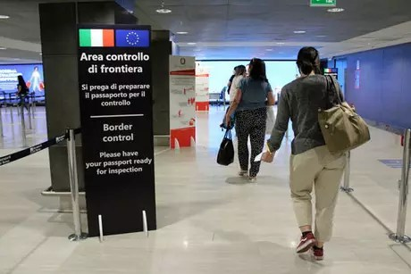 Fiumicino Airport, Italy, where the shopkeeper was trying to flee