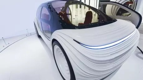 The car's exterior is undulated to reflect the airflow over it.