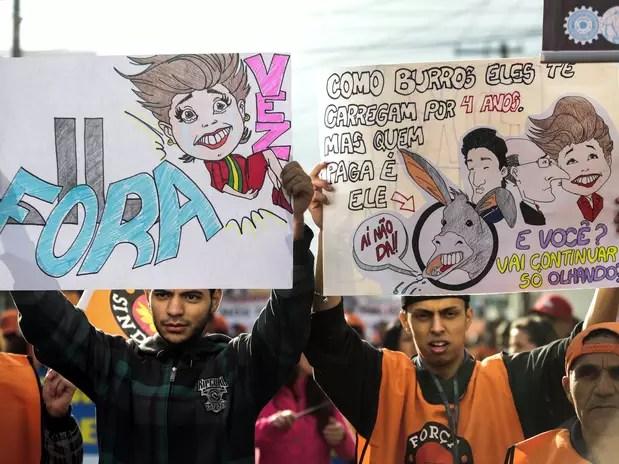 Algunos manifestantes en Sao paulo. Foto: AFP