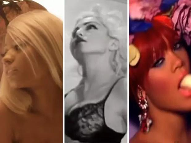 Nicki Minaj, Madonna e Rihanna: em comum elas têm o fato de exagerarem na sensualidade Foto: Reprodução