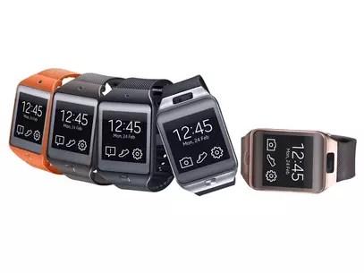 Smart watches à esquerda são do modelo Samsung Gear 2, com câmera. Os dois últimos são o Gear 2 Neo. Foto: Divulgação