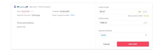 Confirm USDT Sale