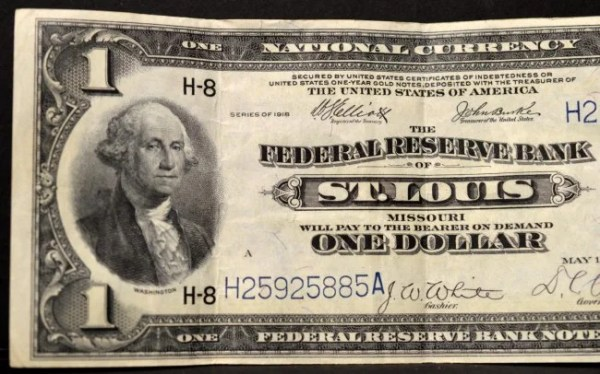1918 $1 Federal Reserve Bank of St. Louis MO XF 40 : Lot 1670H