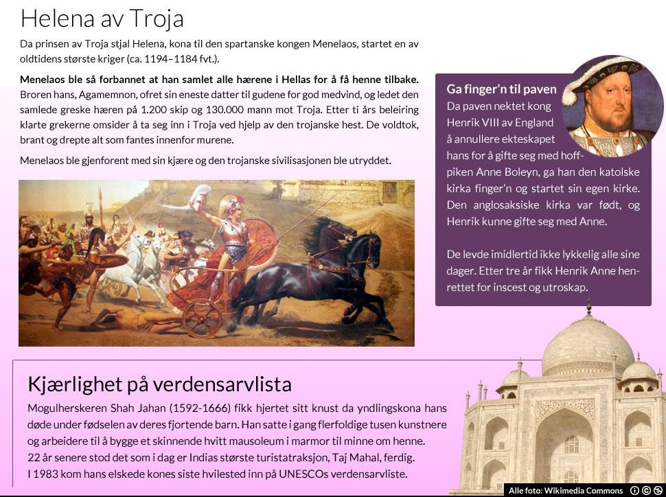 Historisk kjærlighet (Illustrasjon: Martin Aas, NRK P3 Foto: Wikimedia Commons)