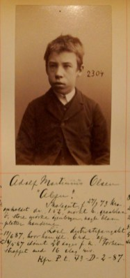 Adolf Martinius Olsen (14). Kallenavn Aben. Straffet med 16 slag ris. (Foto: Norsk rettsmuseum ©)