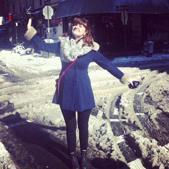 """""""Storm du liksom"""", Sarah er ikke imponert over hva newyorkerne definerer som uvær (Foto: Sarah Winona Sortland, Instagram)"""