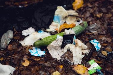 Kreativ bruk av grønnsak på Songsvann. - Det er leit at folk ikke rydder etter seg. (Foto: Tom Øverlie, NRK)