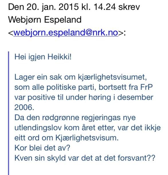 Webjørns mail til Heikki Holmås.