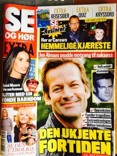 Faksimile av Se og Hør i 2015, hvor Jon Almaas ble «jukse-intervjuet».