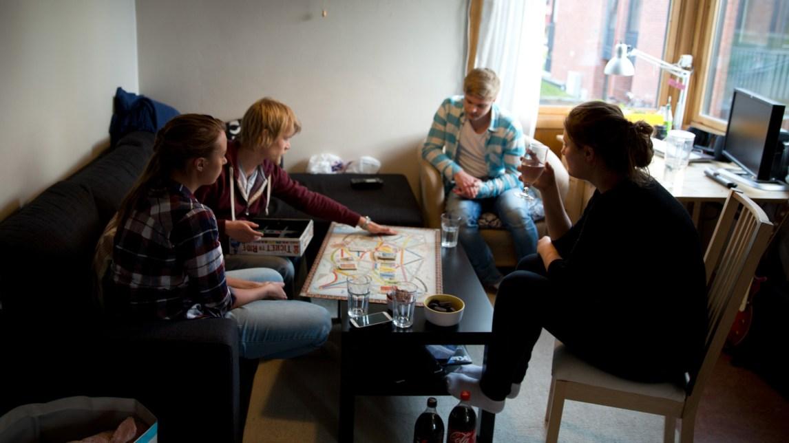 Mensa-spillkveld. Fra venstre: Maria Johannesen (25), Marin Prestmo (25), Eirik Holm Fyhn (19) og Hogne Jørgensen (22). (Foto: Anne Dorte Lunås, NRK)