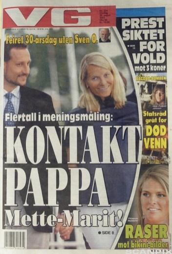 Faksimile av VGs kontroversielle forside om Mette-Marit og Sven O. Høiby i 2003.