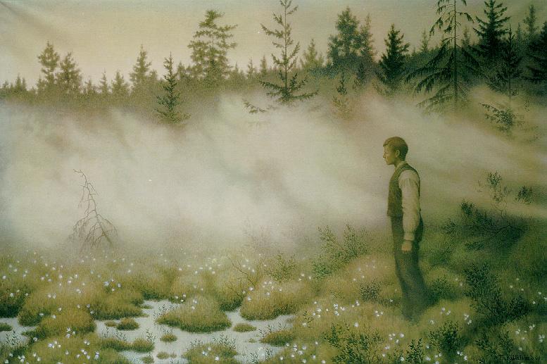 Huldra forsvant av Theodor Kittelsen. Akvarellen viser en hulder som blir borte etter å ha lokket en ung mann ut på ei myr. (Wikipedia Creative commons)