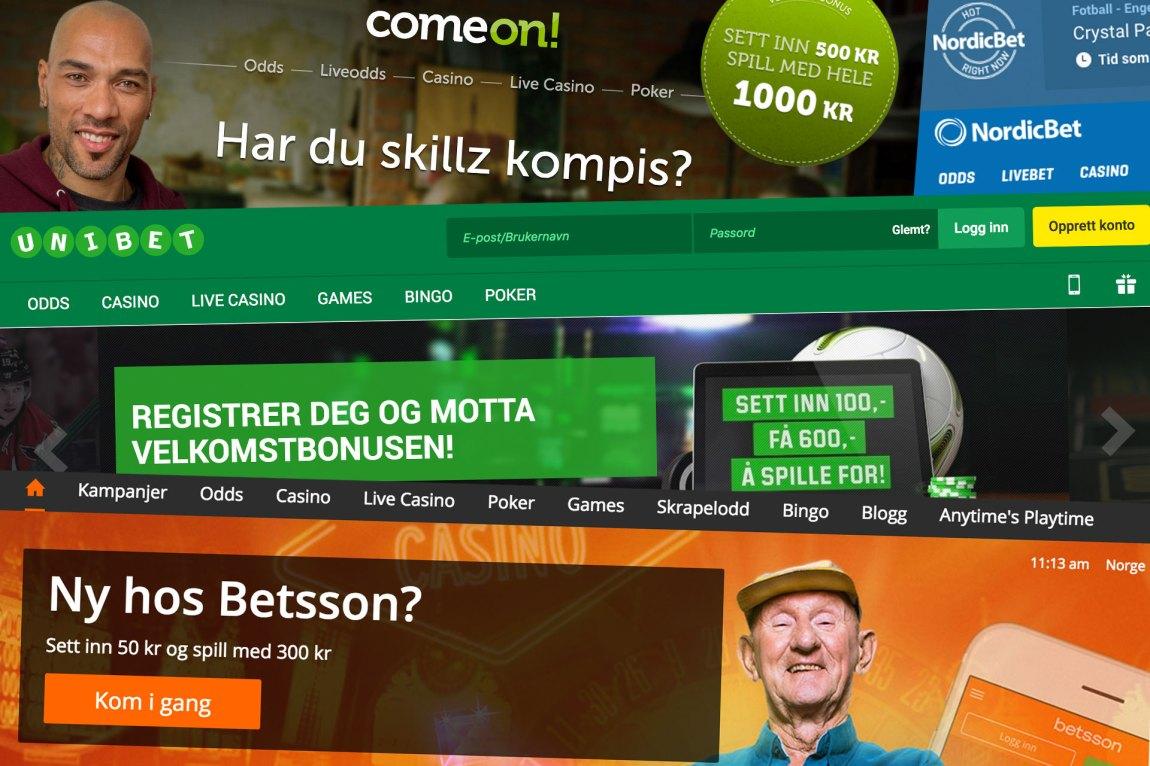 Unibet/Kindred Group, Betsson og ComeOn! har alle en haug med norske kunder i stallen. Foto/Kollasje: Faksimile/Martin Aas, NRK P3