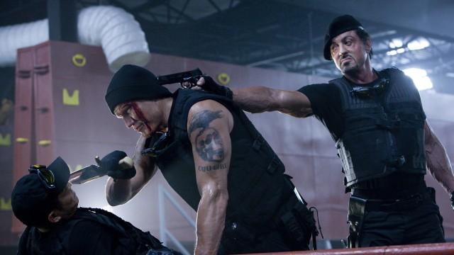 Dolph Lundgren og Sylvester Stallone i The Expendables. (Foto: Euforia Film)