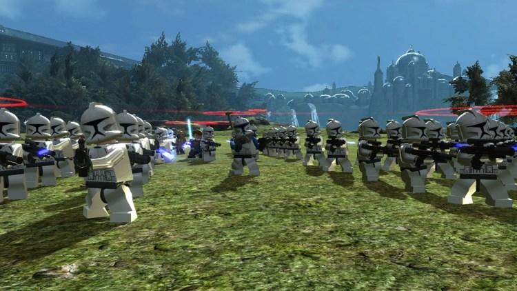 Mange figurer så skjermen samtidig i LEGO Star Wars III: The Clone Wars (Foto: Traveller's Tales/LucasArts).