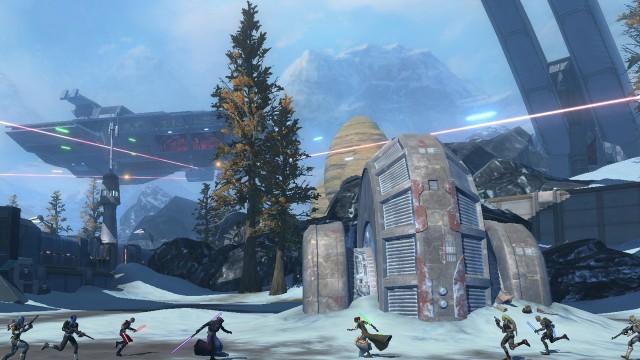Spillere fra de to fraksjonene fyker i tottene på hverandre i Alderaan-sonen. (Foto: EA)