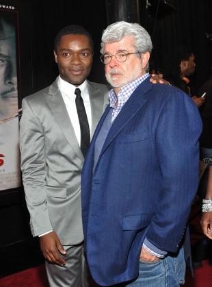David Oyelowo og George Lucas på premieren av 'Red Tails'. (Foto: Mike Coppola/Getty Images/AFP)