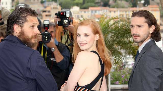 Tom Hardy, Jessica Chastain og Shia LaBeouf er også i Cannes med Lawless (Foto: AFP PHOTO / VALERY HACHE).
