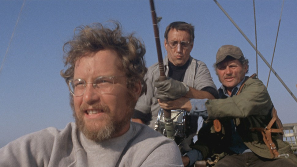 Richard Dreyfuss, Roy Scheider og Robert Shaw på fisketur i Jaws (Foto: Universal Pictures).