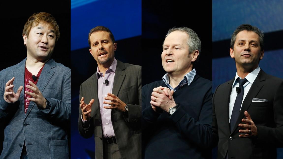 Fra venstre: Activision-sjef Eric Hirshberg, Sonys underholdningssjef Andrew House, Ubisoft-sjef Yves Guillemot og Capcom-sjef  Yoshinori Ono. (Foto: REUTERS/Brendan McDermid - Montasje: NRK)