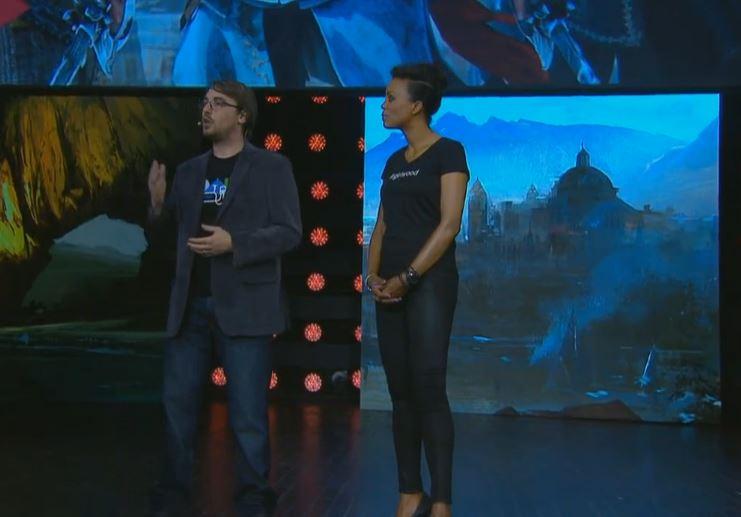 Produsent på «Assassin's Creed IV» Jean Guesdon forteller om spillet på scenen i Los Angeles. (Foto: Ubisoft)