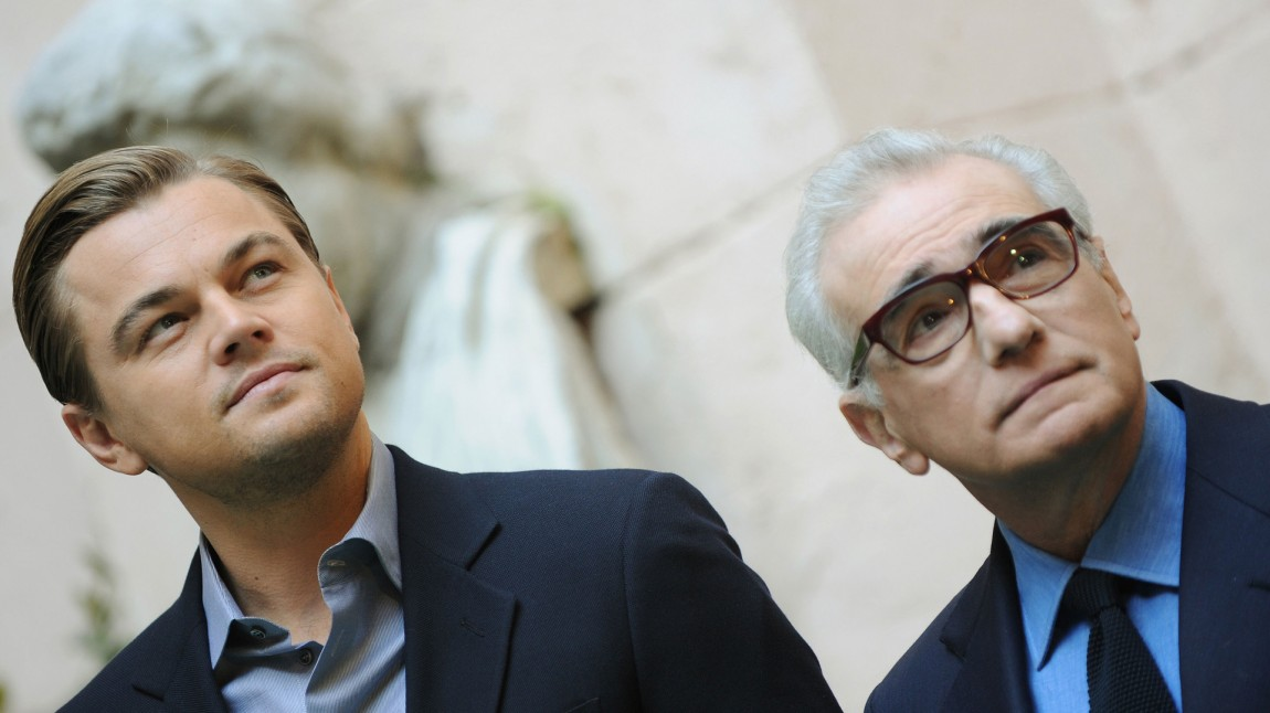 Leonardo DiCaprio sammen med «The Wolf of Wall Street»-regissør Martin Scorsese. (Foto: AFP PHOTO / TIZIANA FABI)
