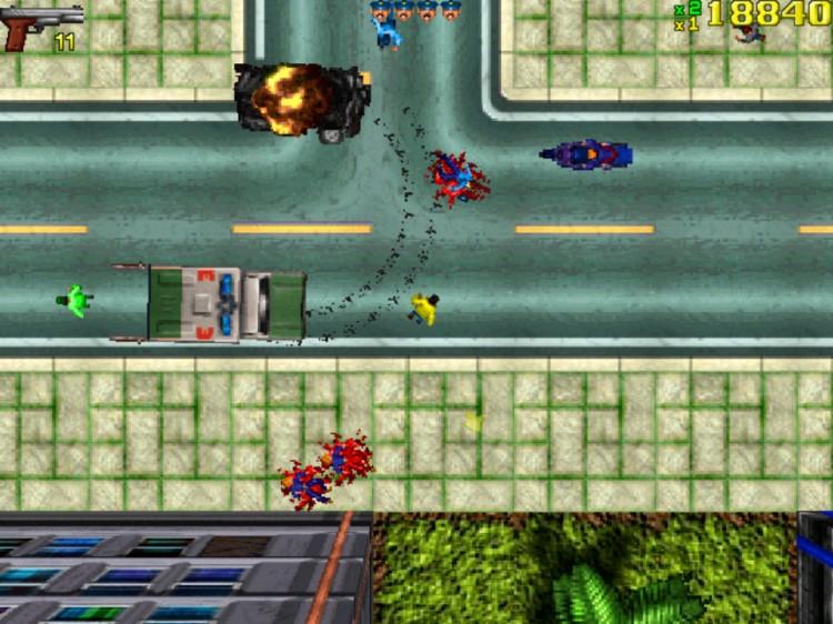 Friheten i det første «Grand Theft Auto»-spillet representerte et vendepunkt i spillbransjen. Mye kritikk ble rettet mot at spillskaperne belønnet spillere som kjørte over uskyldige fotgjengere – en mekaniske som er fjernet i de nye spillene. Skjermbilde fra 1997. (Foto: DMA Design / Rockstar)