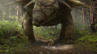 Lille Patchi blir forfulgt av stort beist i Walking With Dinosaurs (Foto: Fox Film).