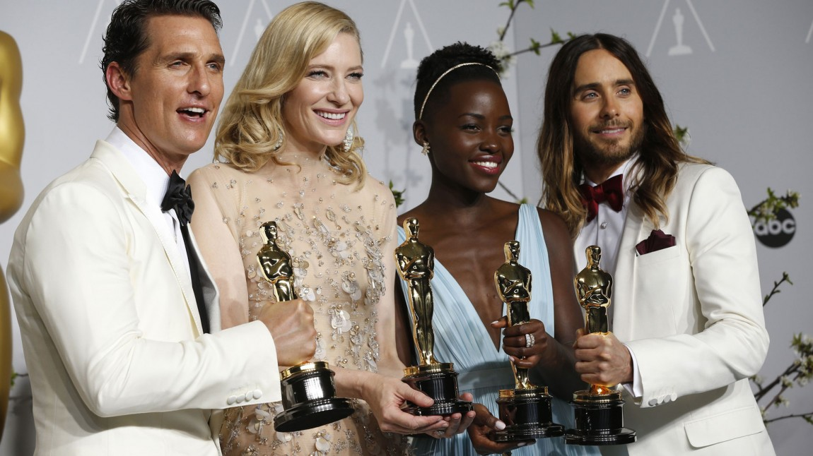 McConaughey, Blanchett, Nyong'o og Leto poserer med kveldens fangst. (Foto: REUTERS/Mario Anzuoni, NTB Scanpix).