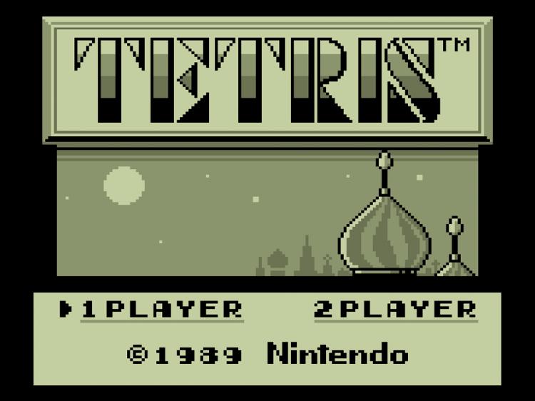 Åpningsbildet fra Nintendos versjon av «Tetris» som ble først gitt ut i Japan i juni 1989. Spillet kom til Europa, og Norge, i september 1990. (Foto: Nintendo)