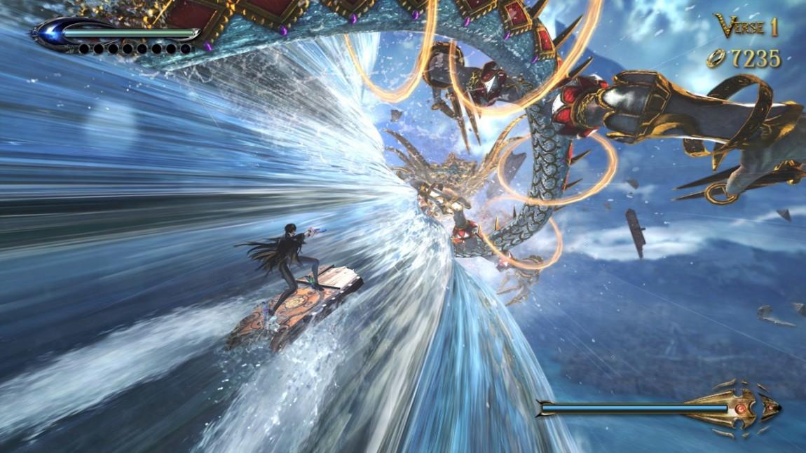 «Bayonetta 2» kaster rundt på hva spilleren forventer ofte. Det gjør at hver kamp mot en hovedmotstander oppleves som ny og utfordrende. Skjermbilde fra spillet. (Foto: Nintendo / Platinum Games)