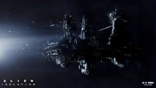 De tre tårnene på den enorme romstasjonen Sevastopol utgjør en mørk og farlig labyrint i «Alien: Isolation». Konseptbilde fra spillet. (Foto: The Creative Assembly / SEGA)