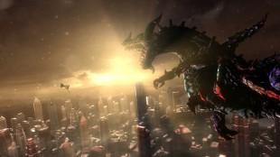 Kampene mot hovedmotstanderne foregår ofte på en ko(s)misk skala i «Bayonetta 2». Skjermbilde fra spillet. (Foto: Nintendo / Platinum Games)