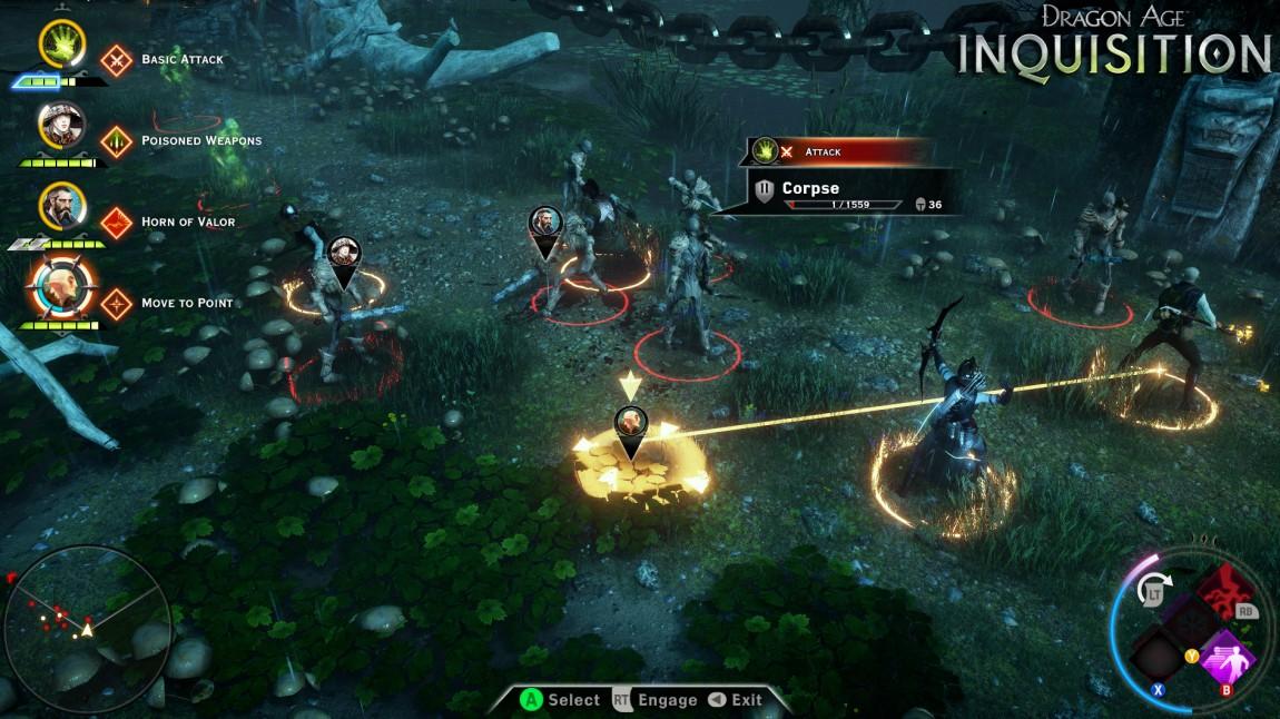 Et knappetrykk setter «Dragon Age: Inquisition» på pause og zoomer ut til et taktisk overblikk over slagmarken. Her kan du planlegge dine angrep og bevegelser for å overvinne fiender. Skjermbilde fra Xbox One-utgaven av spillet. (Promofoto: EA / Bioware)