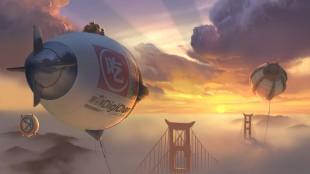 Hiro og Baymax tar seg en pause på toppen av ballong i Big Hero 6 (Foto: The Walt Disney Company Nordic).