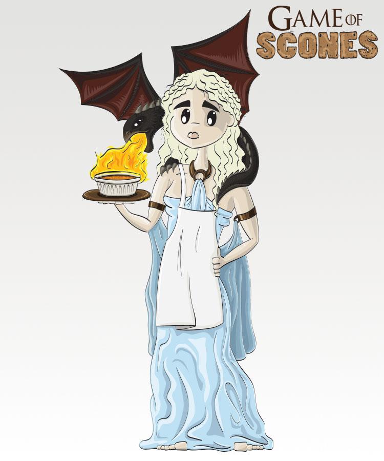Daenerys Targaryen med Créme brûlée à la Drogon (Illustrasjon: Martin Aas / NRK)