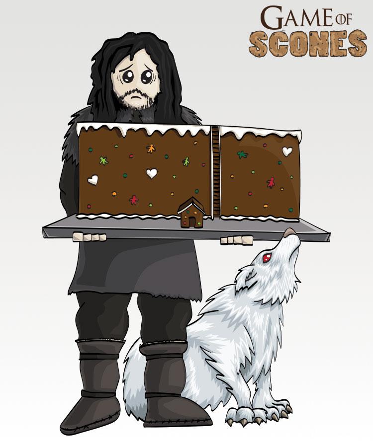 Jon Snow har lagd pepperkakevegg.... med hus (Illustrasjon: Martin Aas / NRK)