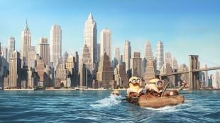 Stuart, Kevin og Bob ankommer New York i Minions (Foto: United International Pictures).