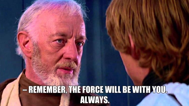 Obi-Wan Kenobi gir gode råd til Luke Skywalker før han forlater sin fysiske kropp og blir ett med kraften. (Foto: Lucasfilm / Disney).
