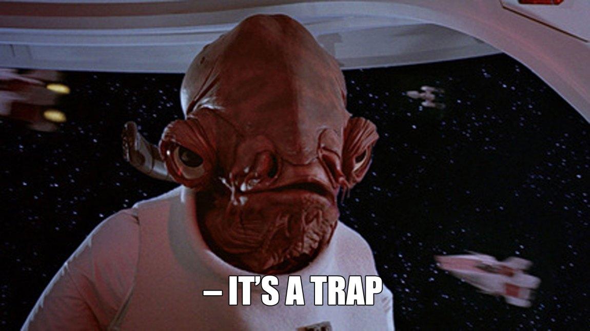 Admiral Ackbar i det han skjønner at noe er aldeles galt. (Foto: Lucasfilm / Disney)