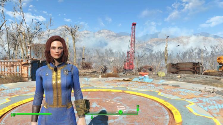 Slik ble figuren min i Fallout 4, etter at jeg hadde brukt en time på å fikse fjeset hennes. Akkurat passe medtatt, men med sminken på plass! (Skjermdump: Marte Hedenstad, Bethesda Softworks).