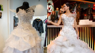 Ida Vesterelv har laget en versjon av Katniss sin brudekjole fra The Hunger Games: Catching Fire. (Foto: Martin Aas, NRK P3 / Lionsgate).