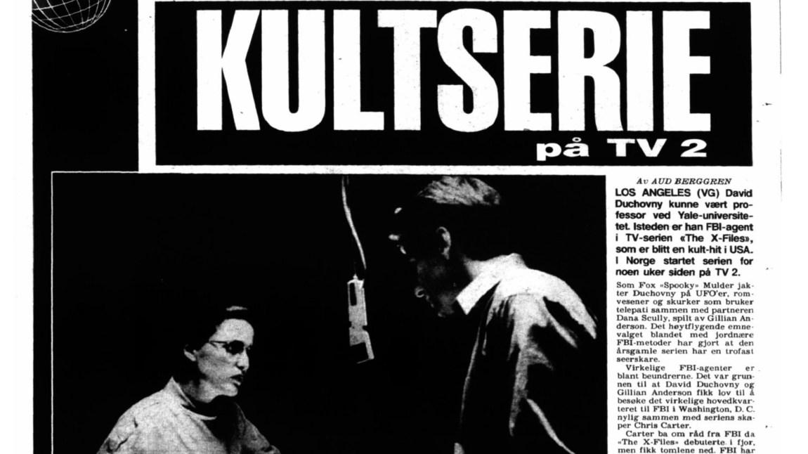 Scully og Mulder ble raskt en av TV2s største suksesser høsten 1994. (Faksimile fra VG 19.09.1994 Side 51)
