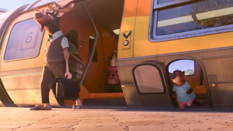 Pendlere reiser med spesialtilpasset tog i Zootropolis (Foto: The Walt Disney Company Nordic).